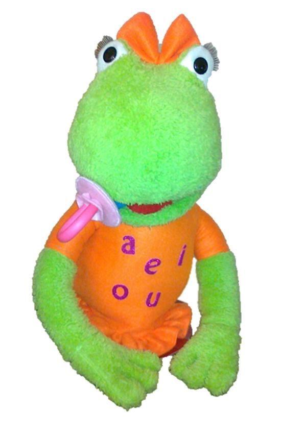 Títere Ranita de 50 cm, color verde, vestido naranja con las vocales, chupe color rosado, lazo naranja. (código NA-21)