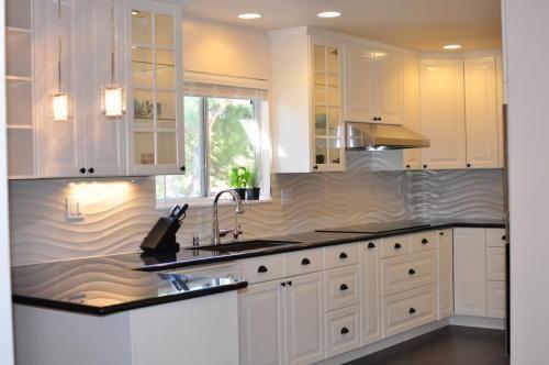Image Title: New remodeled kitchen with Lidingo white cabinets Description: ikea Lidingo white kitchen white cabinets black counter