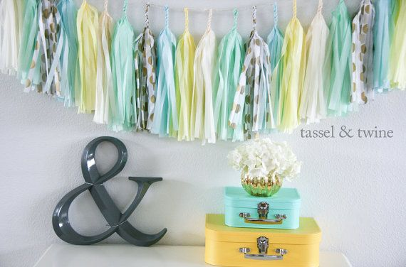 Boy's baby shower decor. Sea Breeze tassel garland party decoration // by tasselandtwine, $35.00 @Rachael Varela I do like these colors together! :)