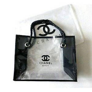 47649d7ef7f8 Medium Chanel CC Transparent Beaute Makeup Cosmetic Tote Bag VIP ...