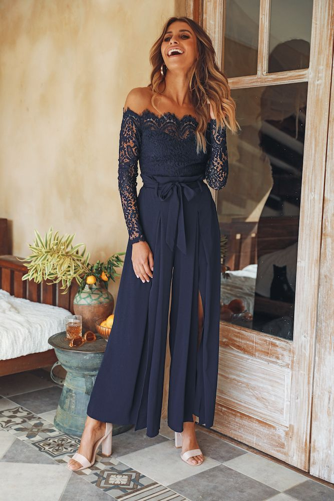Things Work Out Jumpsuit Navy Summer Wedding Outfits Jumpsuit For Wedding Guest Wedding Attire Guest