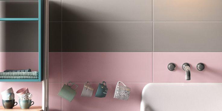 Kyyhkynharmaa ja malva ovat kaunis väripari. Seinälaatat: LPC Play, värit 26TO ja 26ML │ Laattapiste