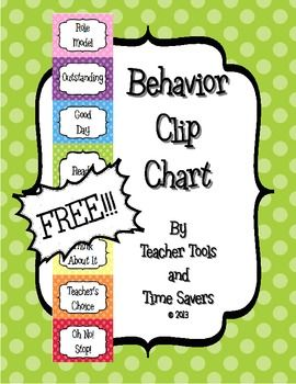 FREE Clip Chart Behavior Management System - Cute Polka Dots