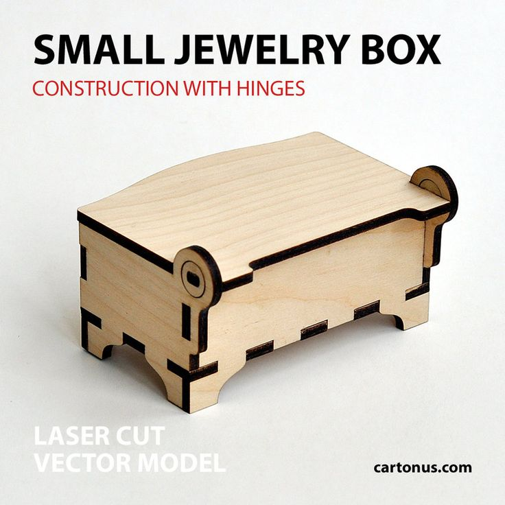 Wooden jewelry box with hinges Vector plan/model for laser cutter, cnc, lasercut, laser machine.Small jewelry wooden box Dimension internal: 86x44x26 mm. Dimension external: 90x70x50 mm. Material t...