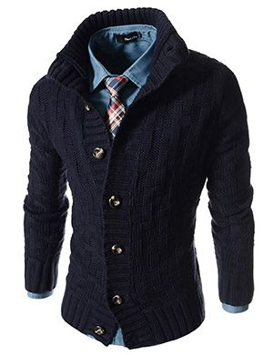 (JGA18-NAVY) Slim Fit Turtle Neck Knitted 7 Button Pattern Cardigan
