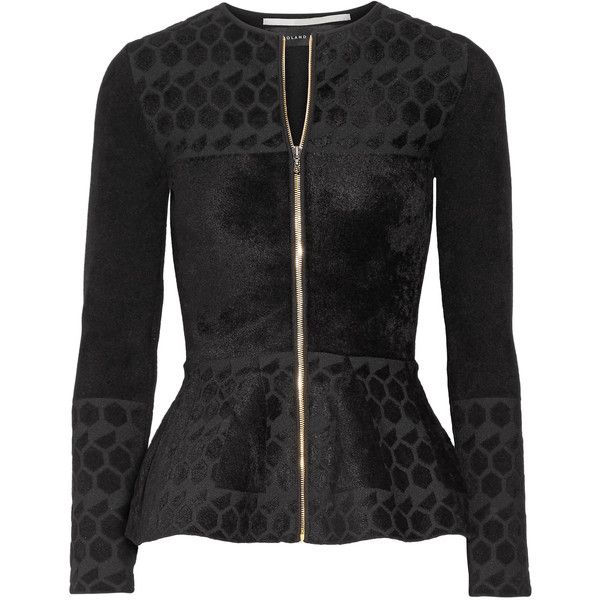 Roland Mouret Textured jacquard-knit peplum jacket (1,865 SGD) ❤ liked on Polyvore featuring outerwear, jackets, roland mouret, collarless jacket, peplum zip jacket, peplum jacket and jacquard jacket