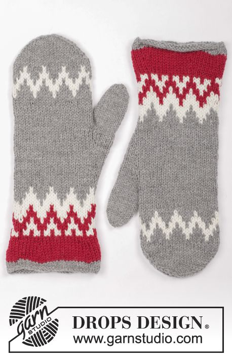Knitted and felted mittens with Nordic pattern for Christmas in DROPS Lima. Free pattern by DROPS Design.
