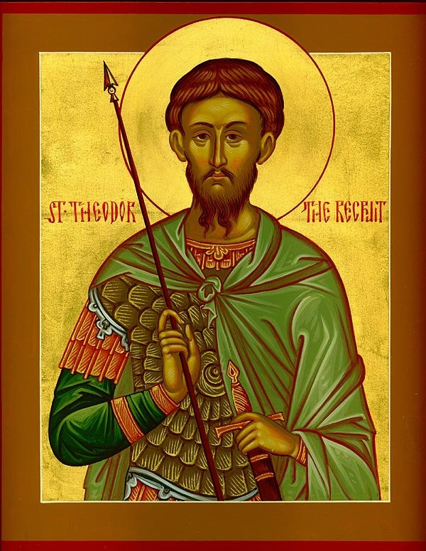 The Holy Great Martyr Theodore the Recruit (Tyro) was a soldier in the city of Alasium of the Pontine district (northeast province of Asia Minor, stretching along the coast of the Euxine, i.e. the Black Sea), under the command of a certain Brincus. They commanded him to offer sacrifice to idols. St Theodore firmly confessed his faith in Christ the Savior in a loud voice. The commander gave him several days to think it over, during which time St Theodore prayed.
