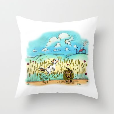 Mr Badger & Little Stitch Throw Pillow by Mr Badger & Little Stitch - $20.00