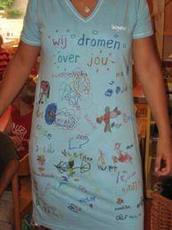 afscheidscadeau juf - pyjama met tekeningen / tekst