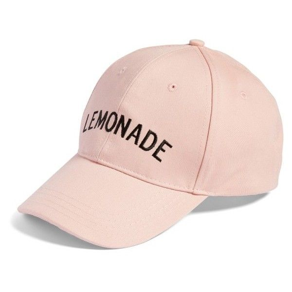 Women's Amici Accessories Lemonade Baseball Hat ($15) ❤ liked on Polyvore featuring accessories, hats, pink, pink ball cap, amici accessories, baseball hats, ball cap and baseball caps