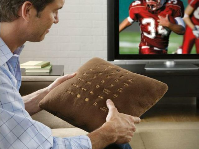 The Pillow Remote Control is the TV remote you will never lose. Use with TV, DVD, Audio Receivers, Satellite and more. Large Easy to Read Fabric Buttons.