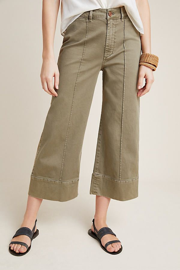 Plus Size Chino by Anthropologie Pintucked Pants in Green Size: 26W, Women's