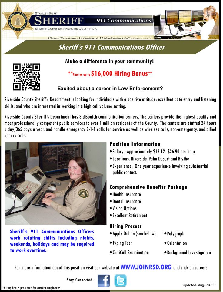 Job Openings with the County of Riverside Sheriff's Department