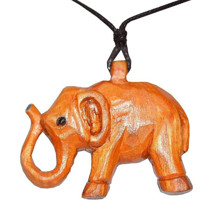 WΜ084 -Ξυλόγλυπτο χειροποίητο κολιέ με ελεφαντάκι