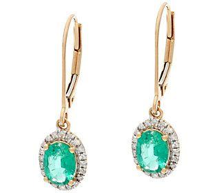Oval Zambian Emerald & Diamond Drop Earrings, 14K 1.00 cttw