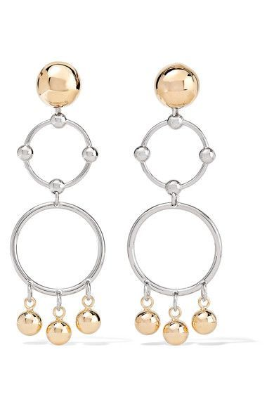Eddie Borgo - Barbell Chandelier Gold And Rhodium-plated Earrings - one size