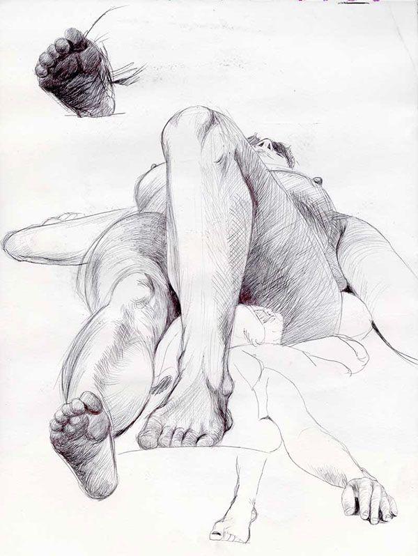 Live model drawings, in sketchbooks or large format.