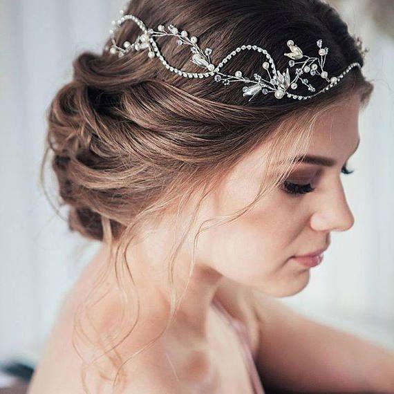 Wedding Hairstyles With Headband And Veil: Bridal Hair Vine Bridal Veil Diadem Beaded Headband