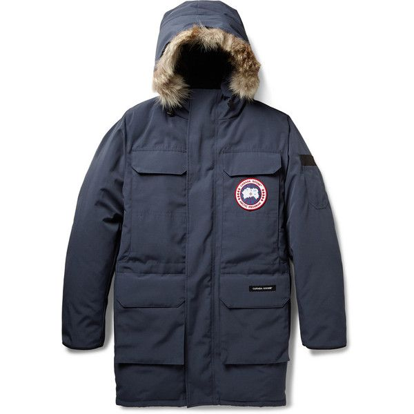 Canada Goose Citadel Coyote-Trimmed Down-Filled Parka (€705) found on Polyvore featuring men's fashion, men's clothing, men's outerwear, men's coats, menswear, blue, mens down filled coats, mens blue trench coat, canada goose mens coat and mens parka coats