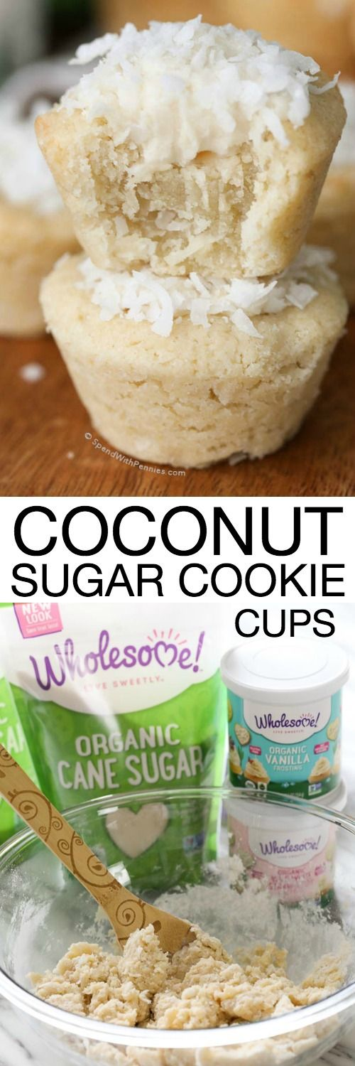 Coconut Sugar Cookie Cups are the perfect treat for all of you coconut lovers any time of year, but especially for Easter.  They look just like little Easter baskets, so  these yummy cookies practically beg to be filled with jelly beans! They're the perfect addition to your potluck or sweet ending to your Easter dinner! #ad @Wholesomesweet