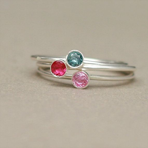 birthstone ring. ONE stackable birthstone by MeadowbelleMarket