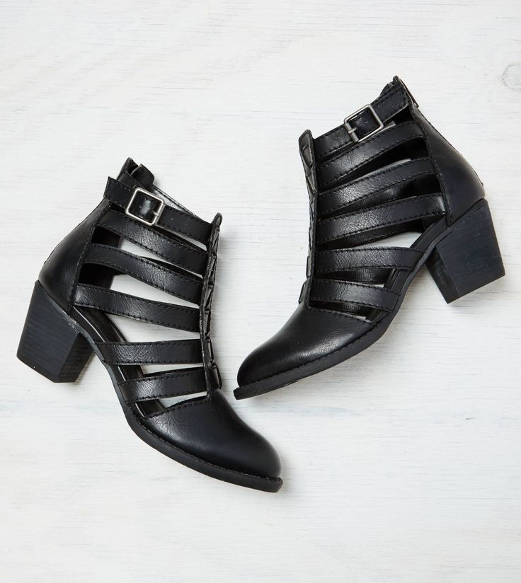 Black AEO Strappy Cutout Bootie