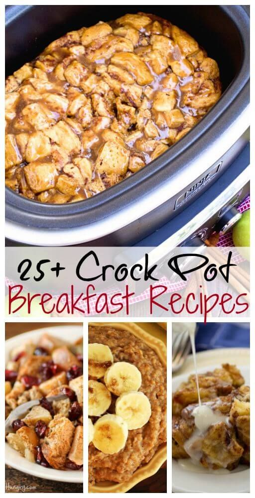 25  Breakfast Crock Pot Recipes ~ Everything from cinnamon rolls, breakfast casseroles, oatmeal and a whole bunch of other amazing things all made in your Crock Pot!