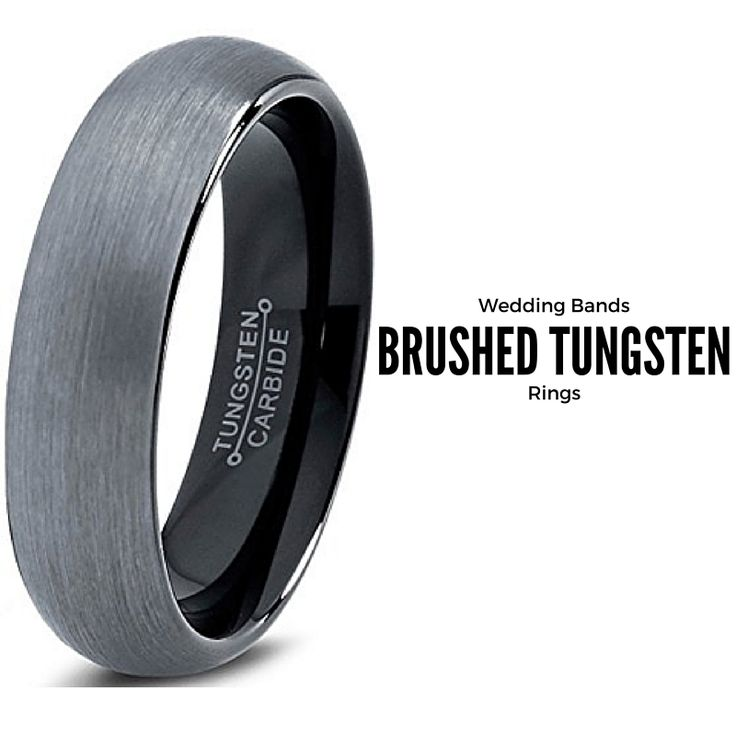 6mm dark brushed tungsten wedding band with high quality black plating inside the wedding band. I love this black brushed wedding band!