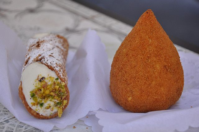 cannolo and arancino
