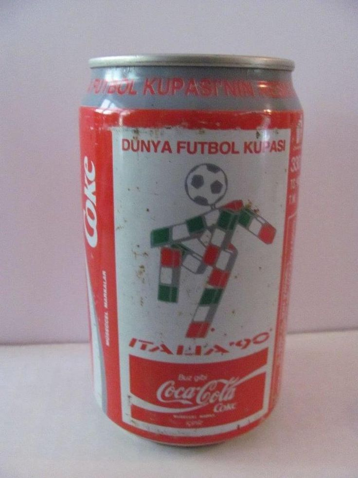 1990 12? Oz Coca Cola Can Soccer FIFA World Cup Italy From TURKEY Full Contents  | eBay