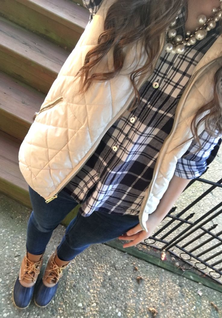 blue & white flannel, bean boots