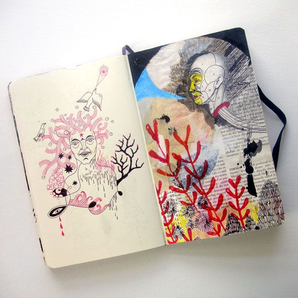 Jon MacNair sketchbook. Notice how he combines his surreal drawings with mixed media, overlapping paint on top of collage. Try it yourself.