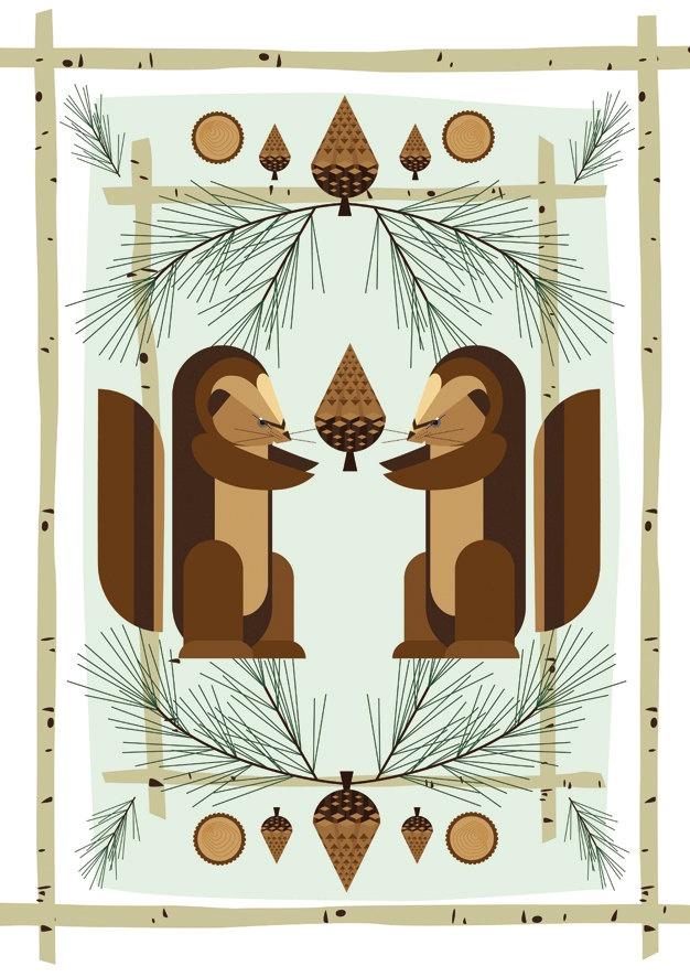 Poster Retro cabin Midcentury 50's modernist Print woodland squirrel pine birch log Children Nursery Decor, via Etsy.