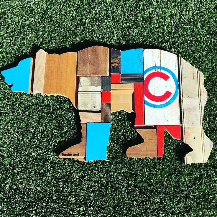 Chicago Cubs wall art made from reclaimed wood. { Pombo Art } avepom@yahoo.com