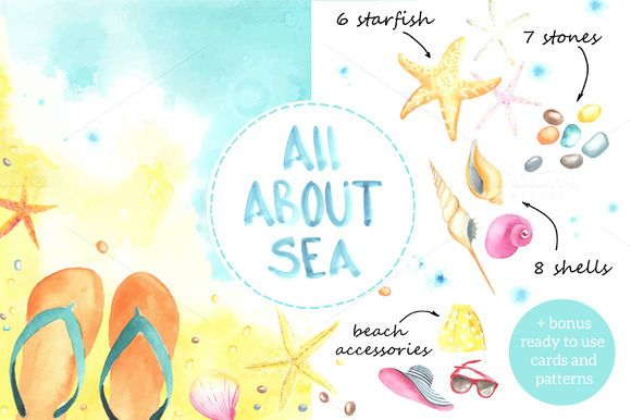 Sunny Beach. Watercolor. by Bonitas on @creativemarket
