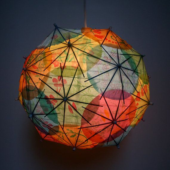 Astonishing DIY Light Fixtures  10. Cocktail umbrella pendant light