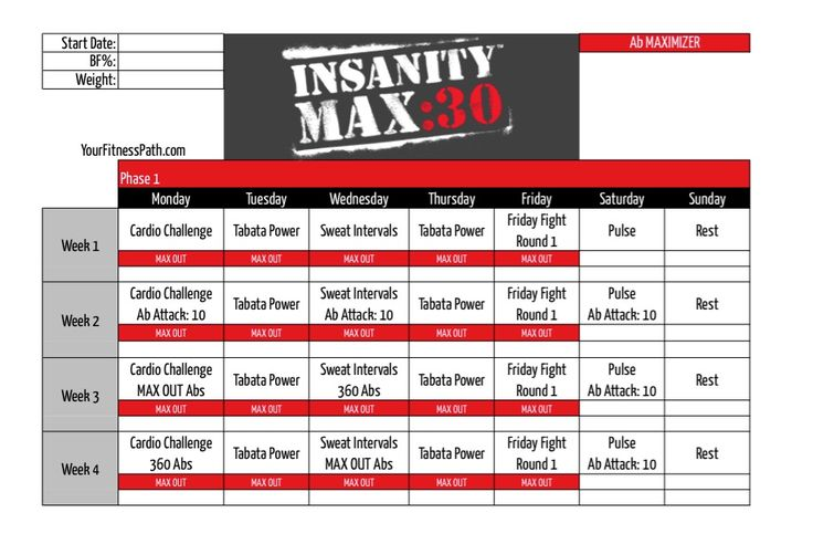 30 Workout, Exercise Inspiration, Insanity Max 30 Calendar, Insanity ...