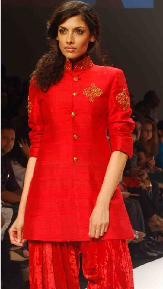 Red raw silk jacket set online shopping India |