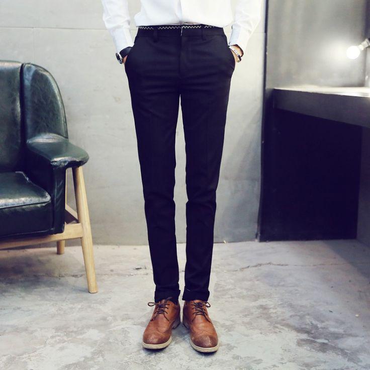 Купить товарКостюм брюки новые 2015 мужская мода молнии хлопок черные узкие классические блейзер брюки мужчины свободного покроя тонкий брюки в категории Брюкина AliExpress.