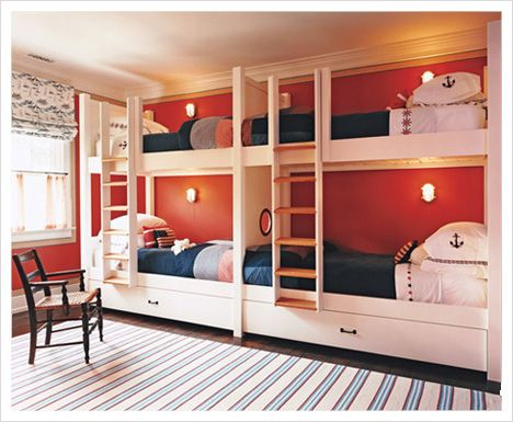 idea: Four Kids, Beaches House, Bunk Beds, Boys Rooms, Bunk Rooms, Nautical Theme, Guest Rooms, Kids Rooms, Built In Bunk