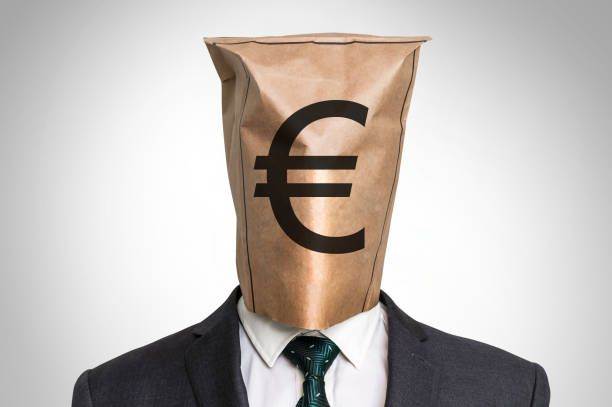 businessman with a bag on the head with euro sign