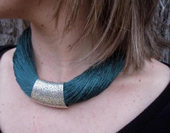 Necklace linen & silk