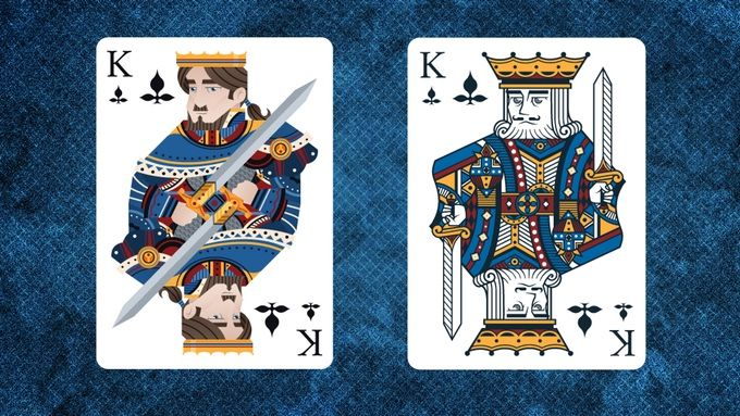 Marquis Playing Cards A Classically Inspired Premium Custom Playing Card Series by Brendan Hong.    Prototype image comparing Marquis Noble King of Clubs and Royal King of Clubs.  AVAILABLE ON KICKSTARTER.