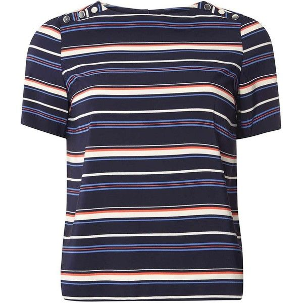 Dorothy Perkins Petite Navy Stripe Button T-Shirt (170 RON) ❤ liked on Polyvore featuring tops, t-shirts, blue, petite, blue top, button t shirt, blue striped t shirt, petite tee and petite t shirts
