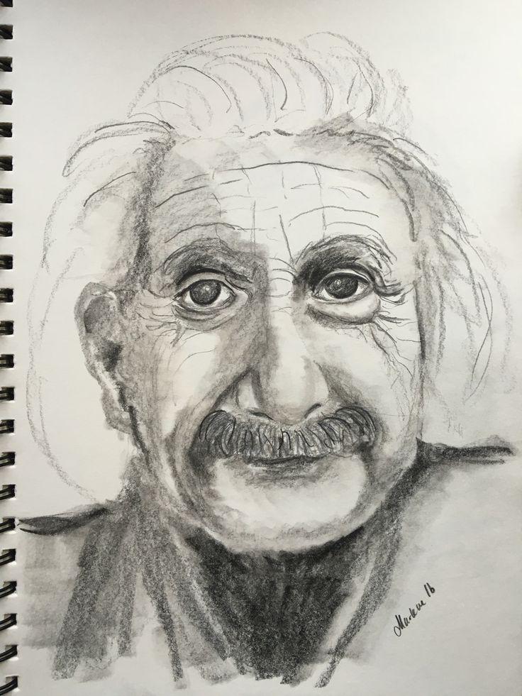 Drawing portrait Albert Einstein pencil by Marlene Jørgensen