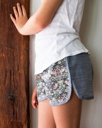 This is a super fun pattern, I love the way it comes together! I've made a pair with stretch and also a pair with woven fabric, love them both! -- City Gym Shorts for All Ages | The Purl Bee