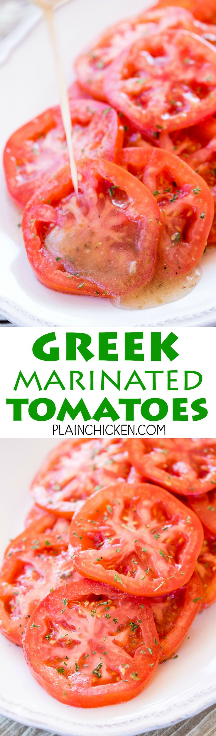 Greek Marinated Tomatoes - only 2 ingredients! Great way to use up all those yummy ripe tomatoes. Great as a side dish or on a sandwich! These make THE BEST BLT sandwich EVER! Whip up a batch today! Such an easy side dish recipe.
