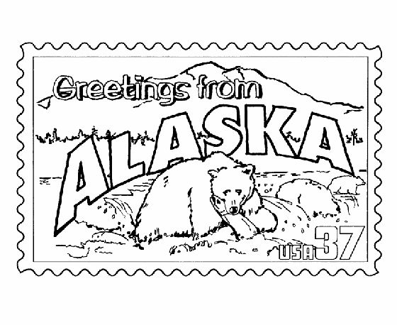 alaska state stamp coloring page
