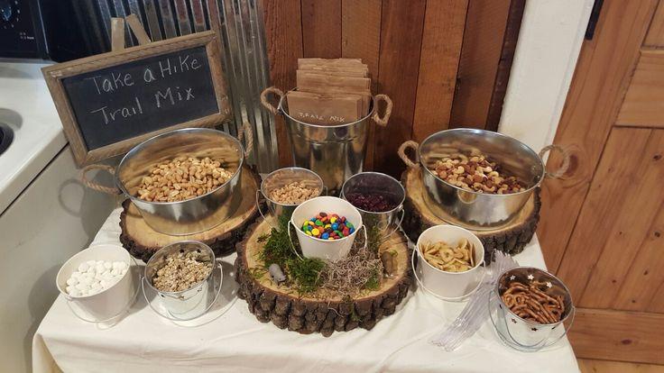 Woodland baby shower ideas (trail mix bar)
